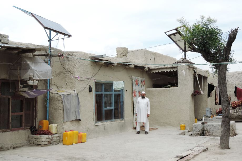 Habib ur-Rahman in front of his home in the village of Khost, the site of his home school.