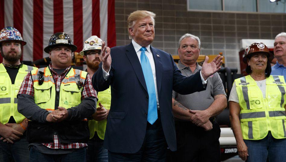 Donald Trump am 10. April 2019 vor Arbeitern in Texas