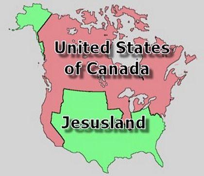 """Neue Weltordnung: United States und """"Jesusland"""" (im Web kursierendes Bild, Ursprung unbekannt)"""
