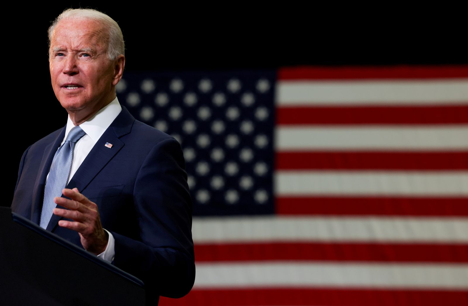 """FILE PHOTO: U.S. President Joe Biden delivers remarks on his proposed """"American Families Plan"""" legislation at McHenry County College"""