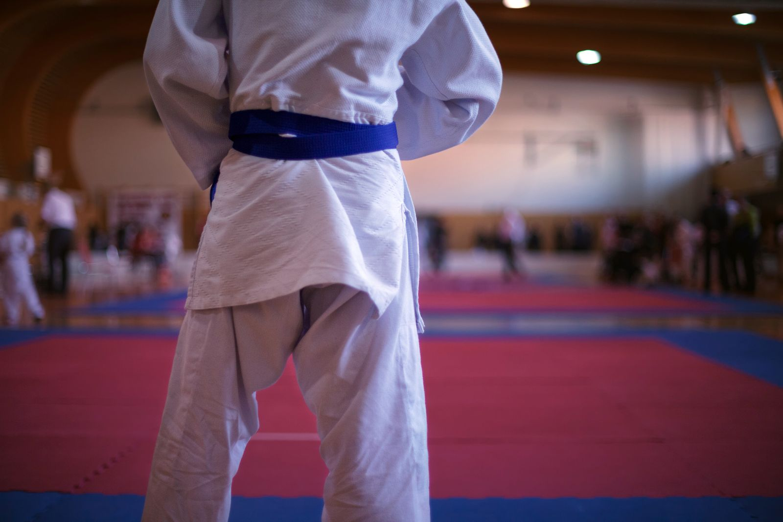 Judo fighter on tatami mat in a gym