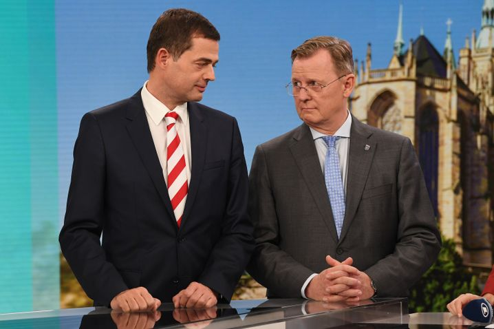 """Mike Mohring (l.) und Bodo Ramelow: """"Gewinnen fetzt, oder?"""""""