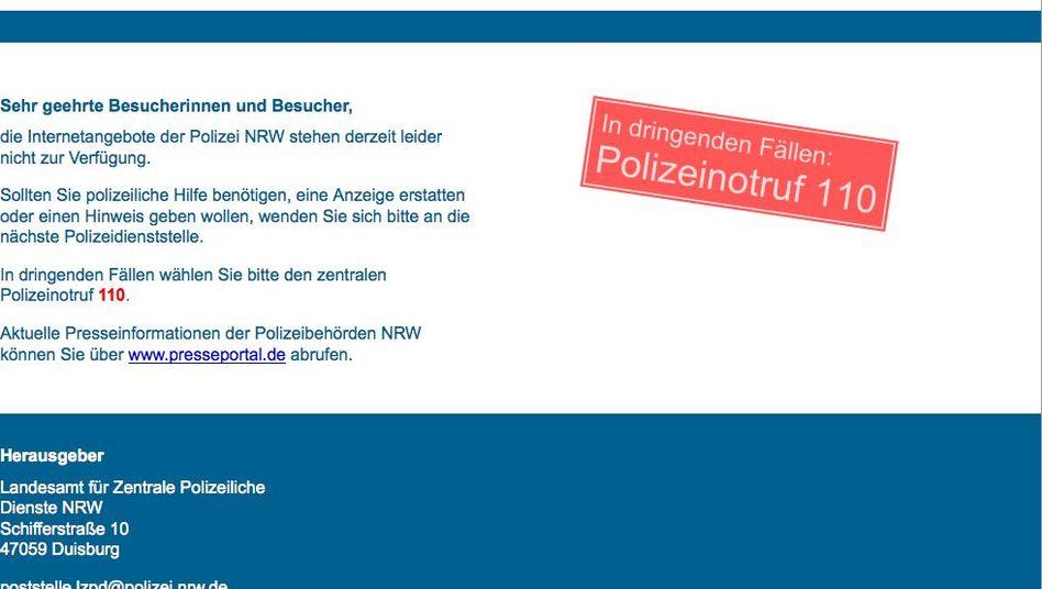 Website der Polizei NRW: Zur Sicherheit den Stecker gezogen