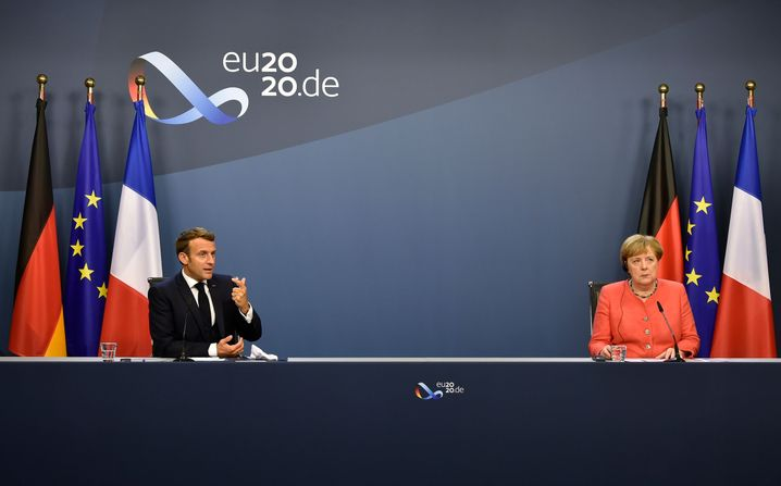 Macron und Merkel am 21. Juli bei einer Pressekonferenz nach dem Gipfel