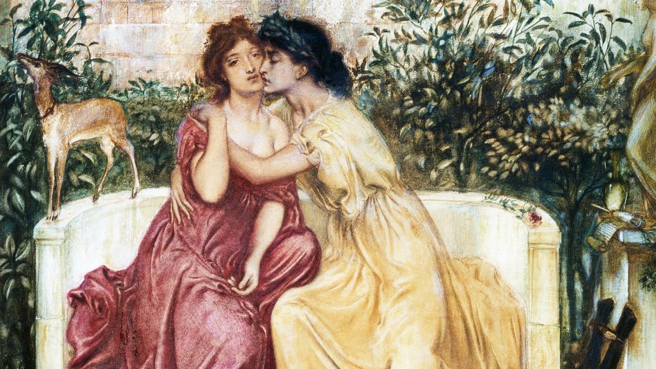 Dichterinnen Sappho und Erinna, gemalt vom Präraffaeliten Simeon Solomon