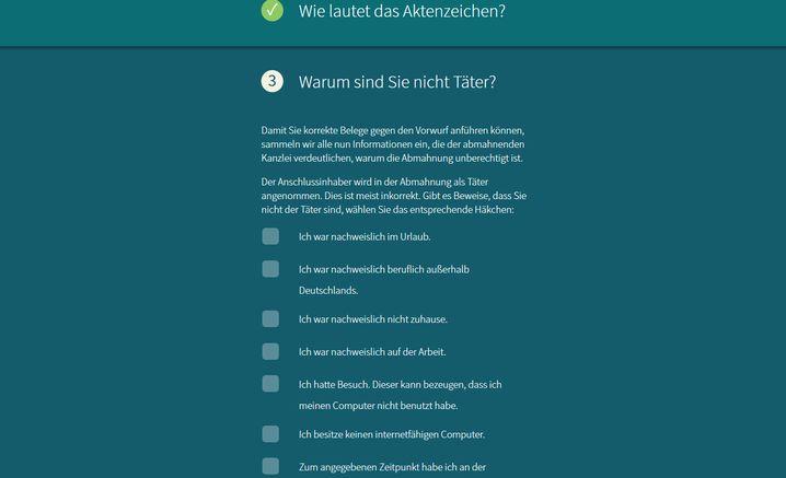 Screenshot abmahnbeantworter.ccc.de