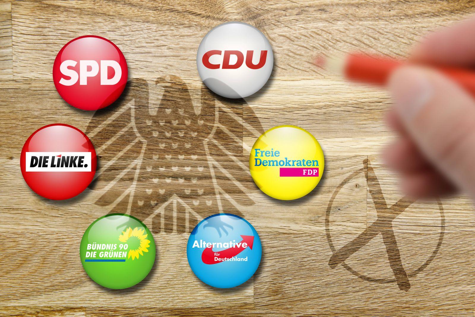 Parteilogos der großen Parteien und Bundesadler Bundestagswahl 2017