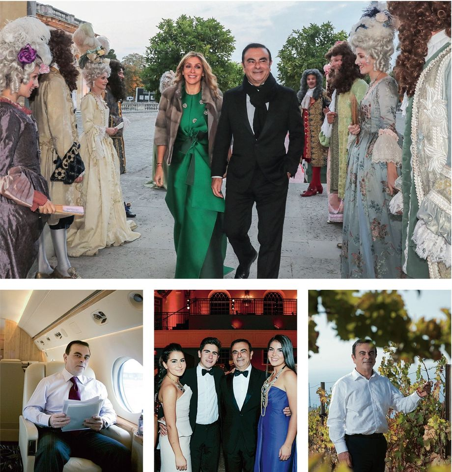 The wealthy private man: Ghosn at the 50th birthday of his second wife Carole at Versailles in 2016 (above); in a private jet in 2006; with his children at a gala in New York in 2013; and at his vineyard in Lebanon in 2012
