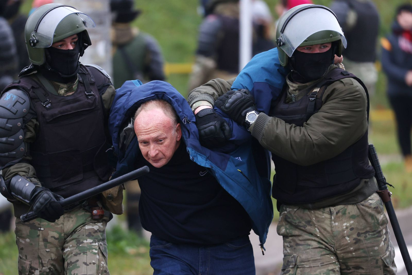 MINSK, BELARUS - NOVEMBER 15, 2020: Law enforcement officers detain a participant in the March of the Brave protest eve