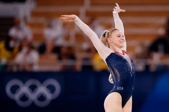 So strahlt eine Olympiasiegerin: Jade Carey in Tokio