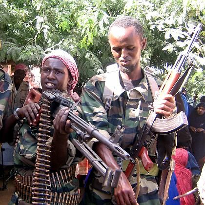 Members of the Islamic militia posing with their guns during an anti-Ethiopia rally in the Somali capital Mogadishu in October.