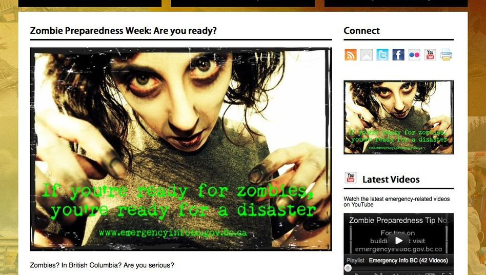 "Screenshot der Website Emergency Info BC: ""If you are ready for zombies..."""