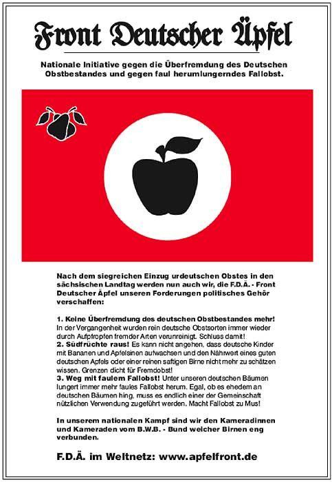 Plakat der Apfelfront: Die Kern-Forderungen