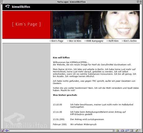 Kampagne für das legale Kiffen: Kims Homepage