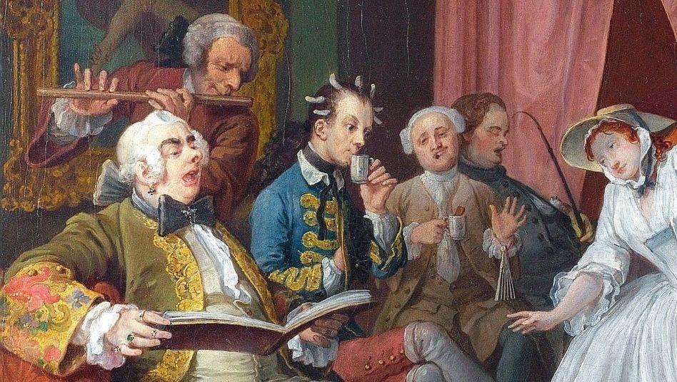 """Ausschnitt aus Hogarth-Gemälde """"The Toilette"""" aus der Serie """"Marriage A-la-Mode"""", um 1743; mit Flöte: angeblich König Friedrich II."""