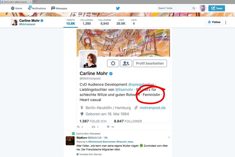 EINMALIGE VERWENDUNG Carline Mohr/ Feminismus/ Twitter SCREENSHOT