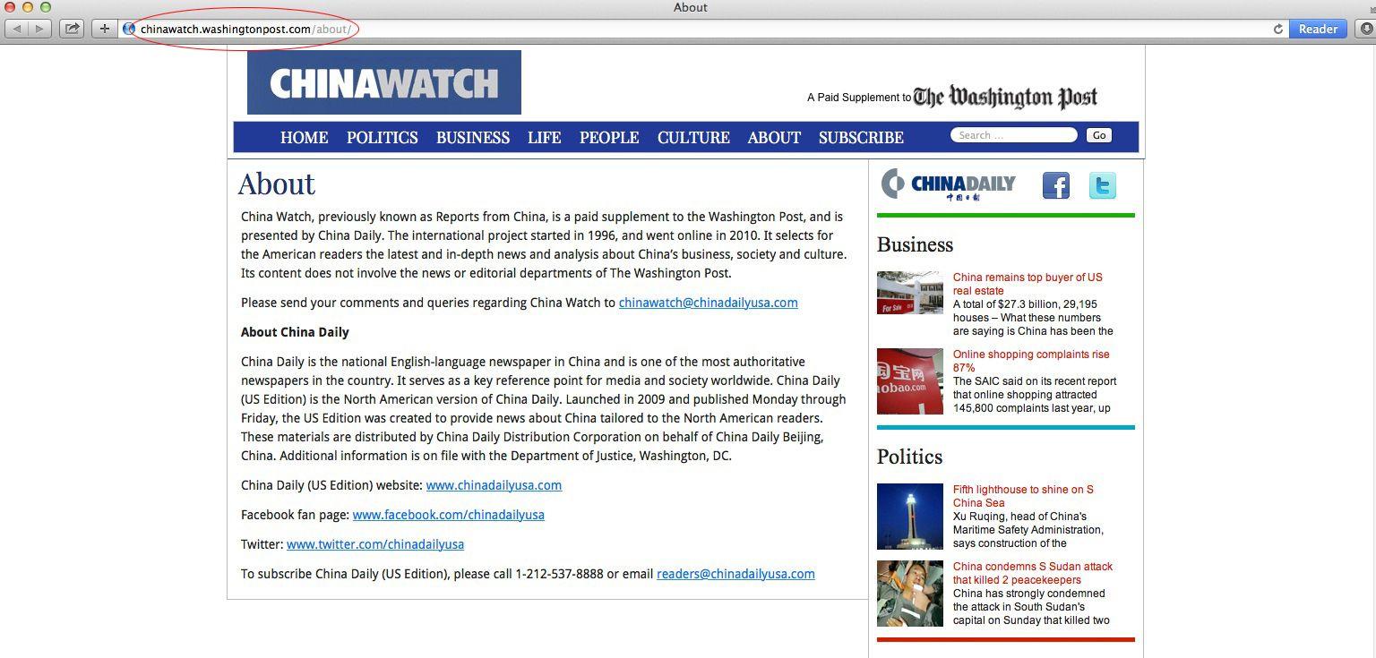 EINMALIGE VERWENDUNG SCREENSHOT NUR ALS ZITAT! chinawatch/ washington post