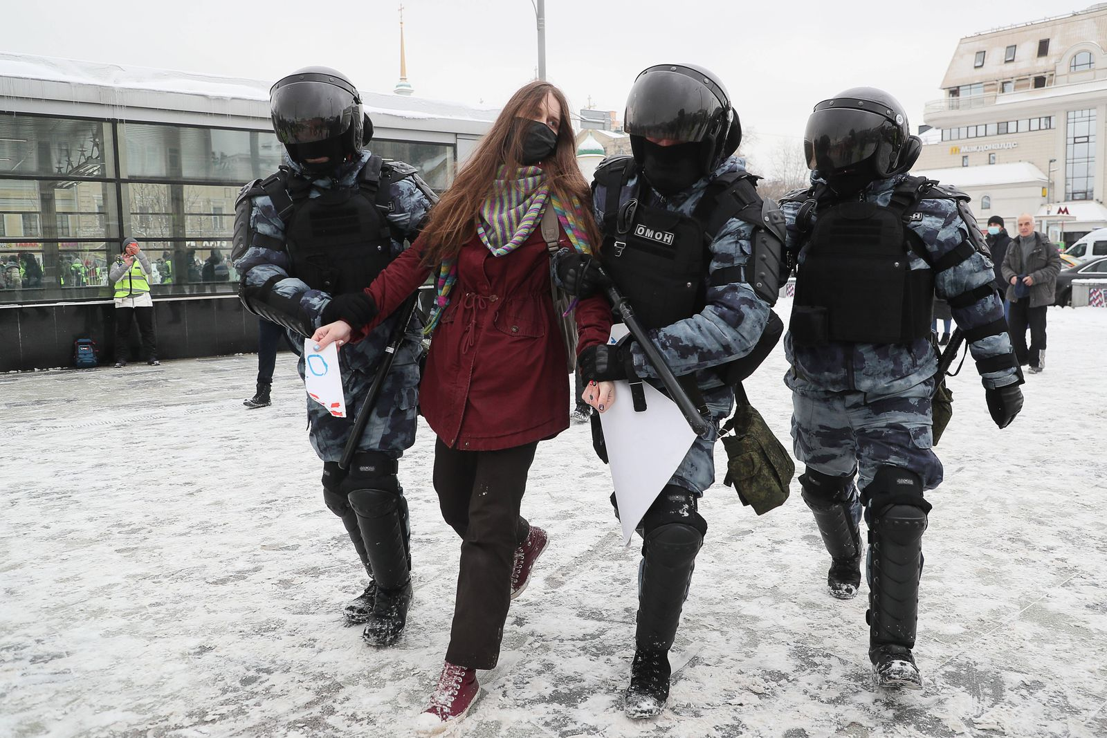 MOSCOW, RUSSIA - JANUARY 31, 2021: Riot police detain a participant in an unauthorized protest in support of the detain