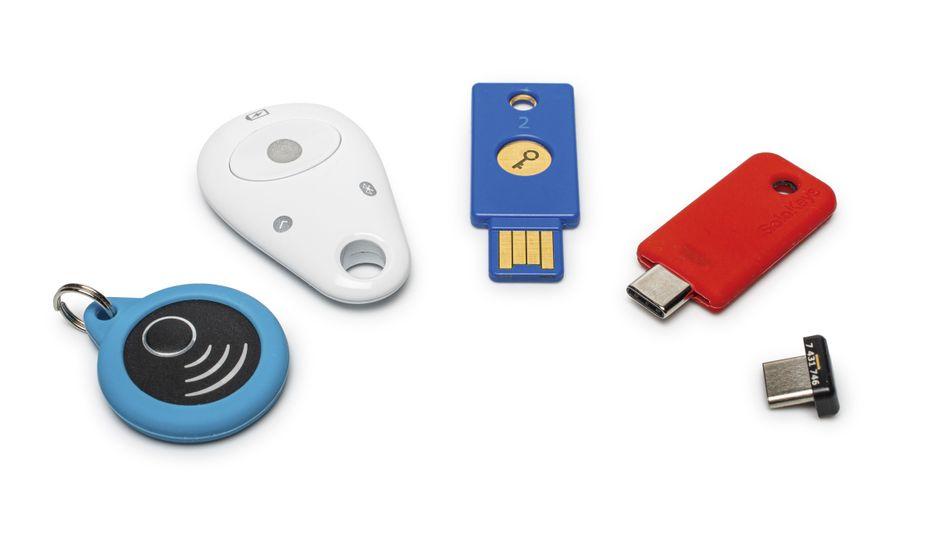 Viel sicherer als Passwörter: Fido-Sicherheitsschlüssel gibt es in vielen Formen und Farben