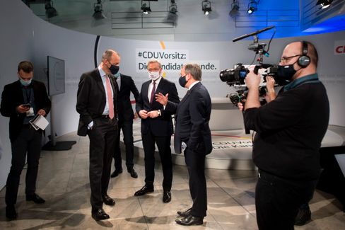 Friedrich Merz (v.l.), Norbert Röttgen und Armin Laschet im Dezember 2020