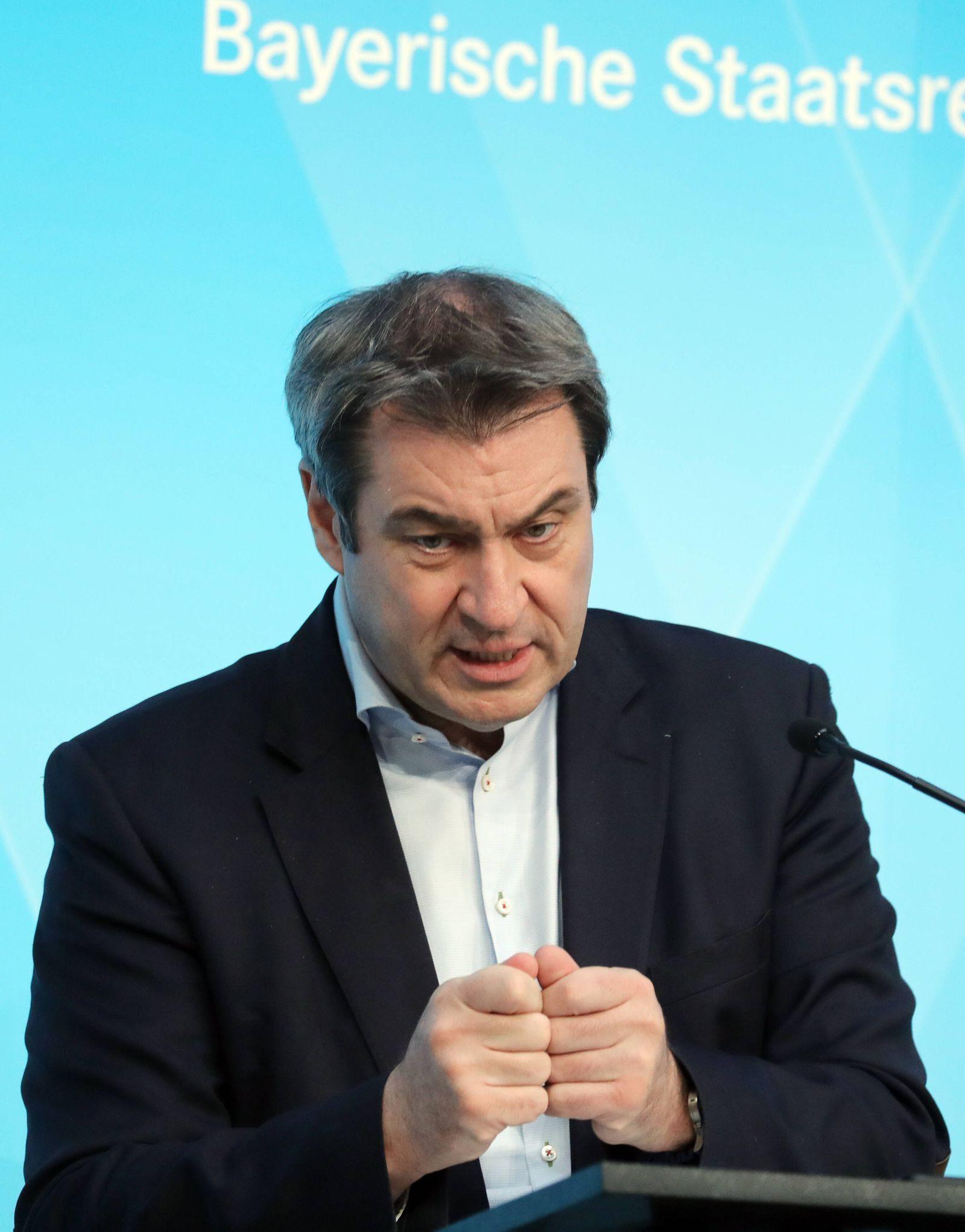 Pressekonfernez von Ministerpräsident Markus Söder Dr. Markus Söder Soeder, München Bayern Deutschland Prinz-Carl-Palais