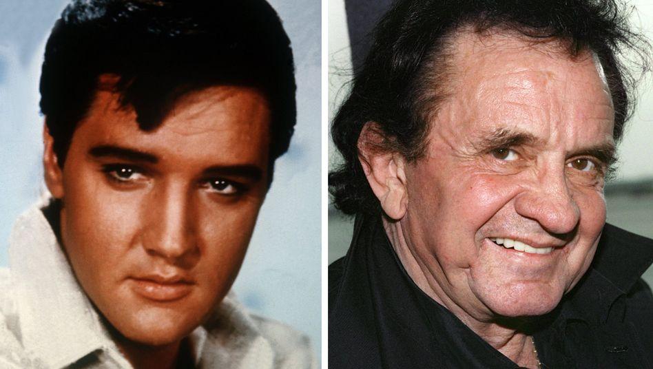 Zwei eindringliche, tiefe Stimmen - Elvis Presley (l.) und Johnny Cash (r., Archivbilder)