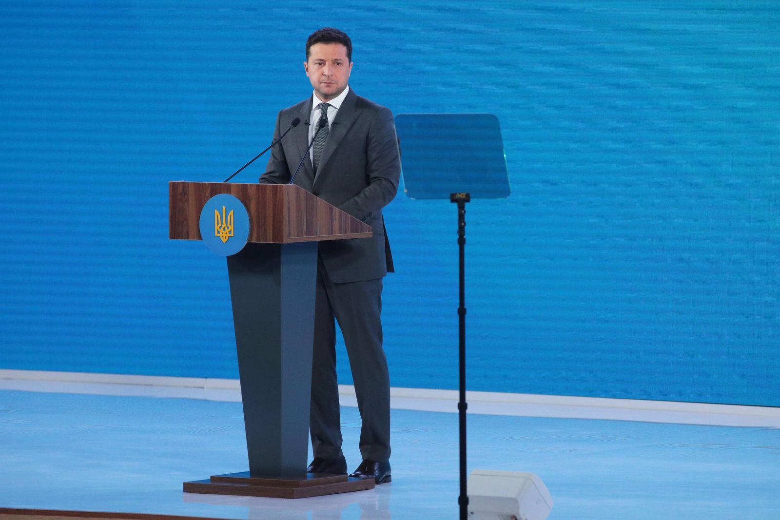 KYIV, UKRAINE - JULY 28, 2021 - President of Ukraine Volodymyr Zelenskyy delivers a speech during the Ukraine 30. Decent