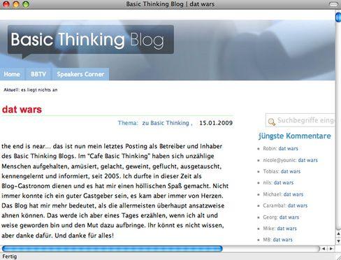 """Letzter Eintrag von Basic auf """"Basic Thinking"""": """"Dat wars"""""""