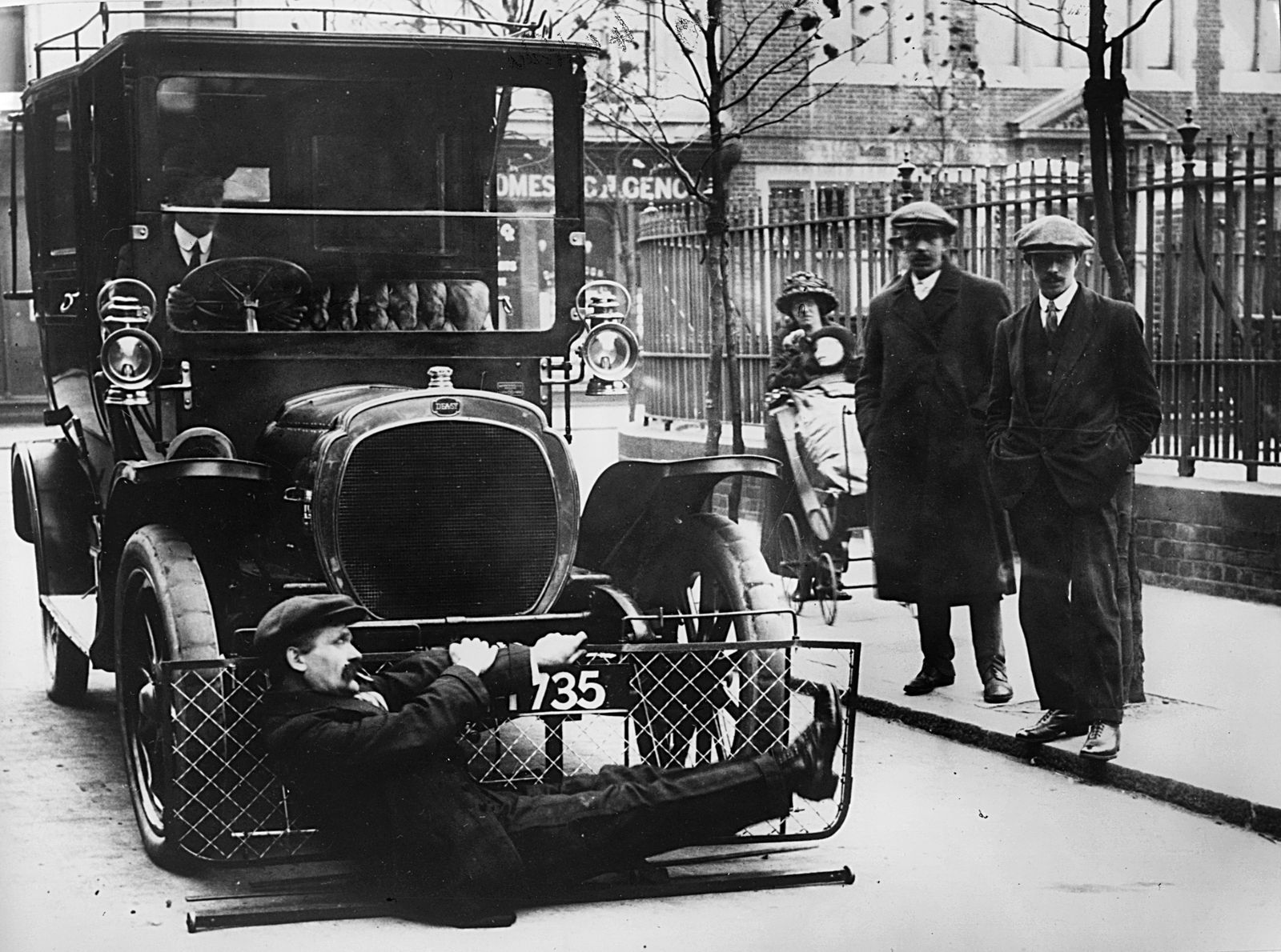 1908 Deasy testing pedestrian road safety device. Creator: Unknown.