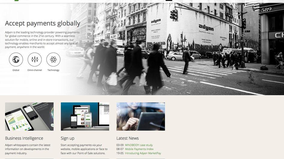 Adyen-Website: Begehrte Dienstleistungen