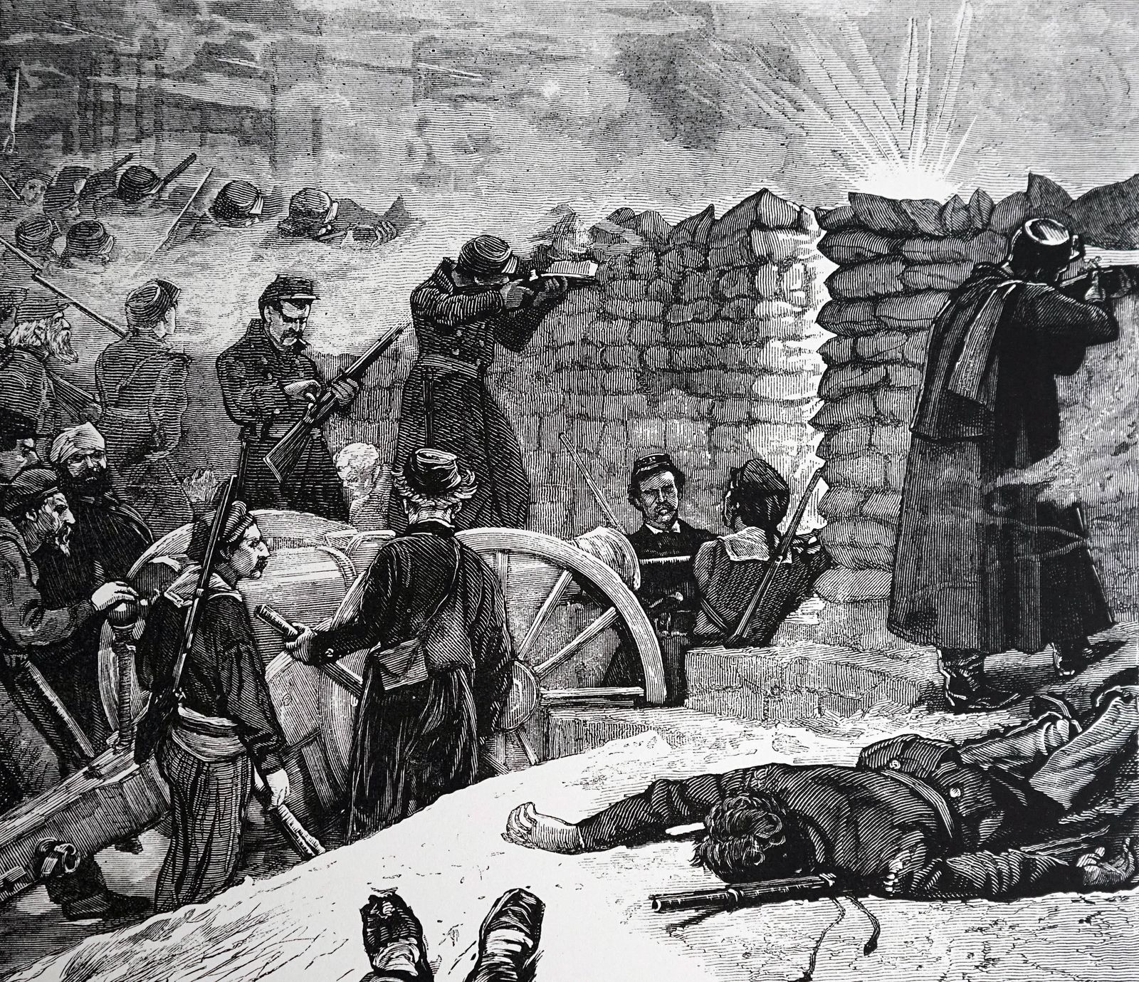 Paris commune Last stand of the communards at the barricades Dated June 1871 PUBLICATIONxINxGERxSUI