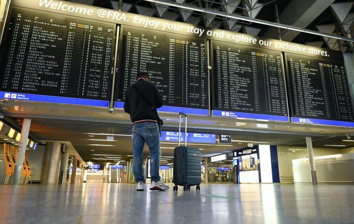 Weniger Passagiere wegen Corona auch am Flughafen Frankfurt