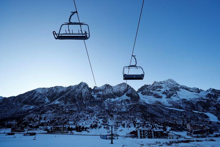 The ski area Passo Tonale in the Dolomites
