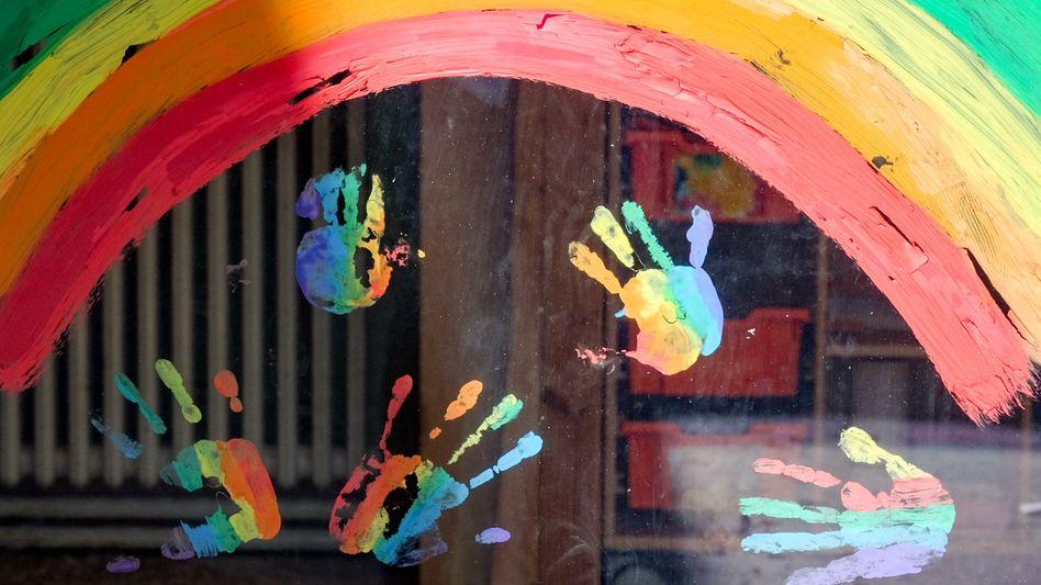 Kinderkunst an einer Kindertagesstätte in Berlin