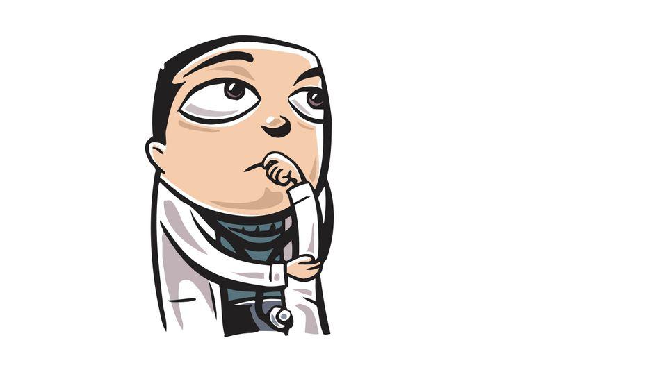 Grübelnder Arzt: Sensitivität und Spezifität eines Tests, falsch positiv oder falsch negativ? Viele Mediziner kennen den Unterschied nicht