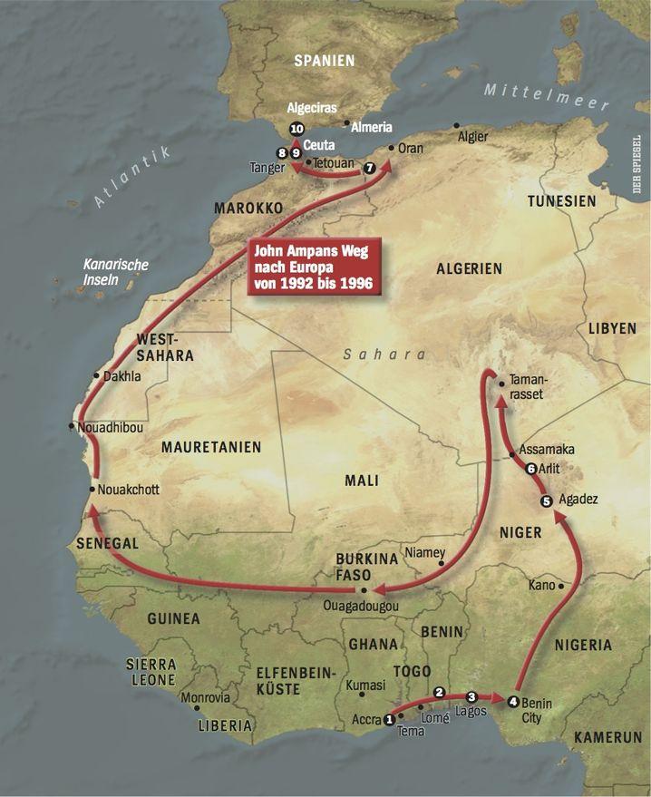 John Ampans Weg nach Europa von 1992 bis 1996