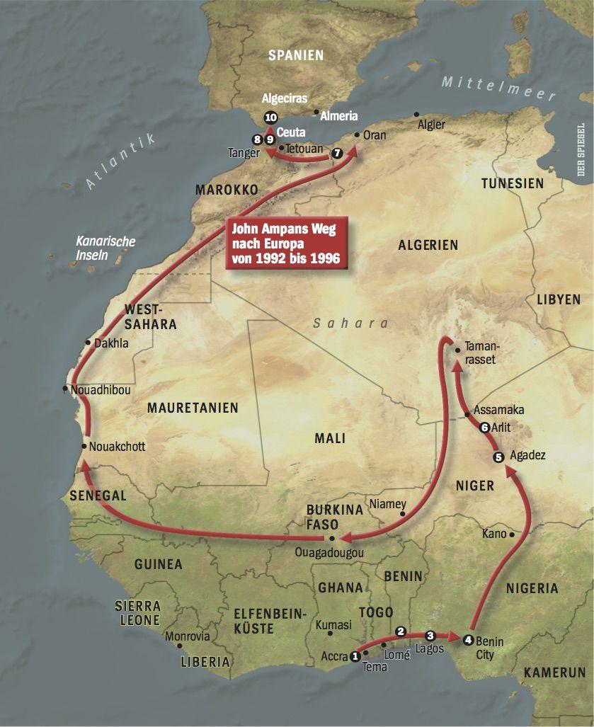 Fluchtroute John Ampan / Afrikanische Odyssee