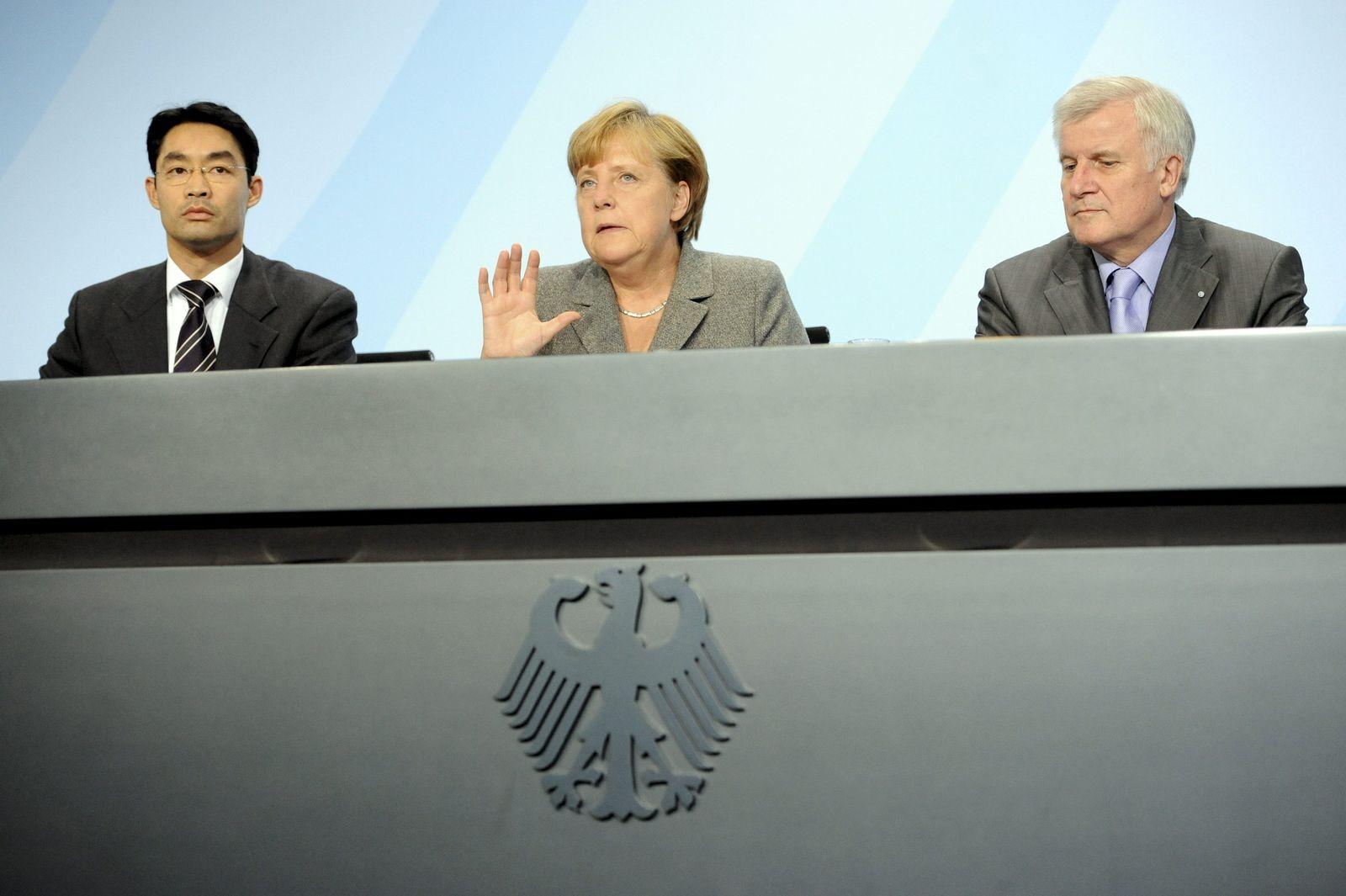 Koalitionsgipfel (Rössler, Merkel, Seehofer)