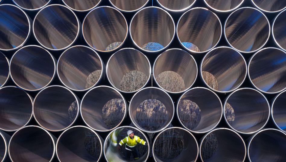 Rohre für die Ostsee-Erdgastrasse Nord Stream 2