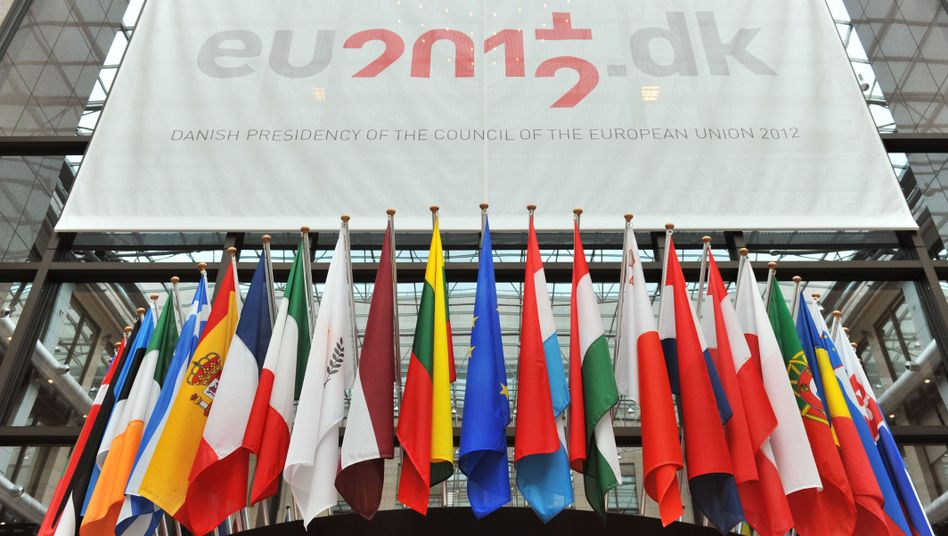 European Union country flags on display in the European Council building in Brussels ahead of the EU summit.