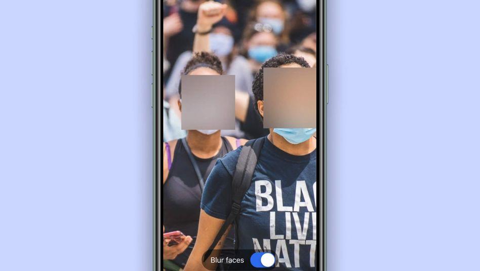 Unkenntlich gemachte Gesichter in der App Signal