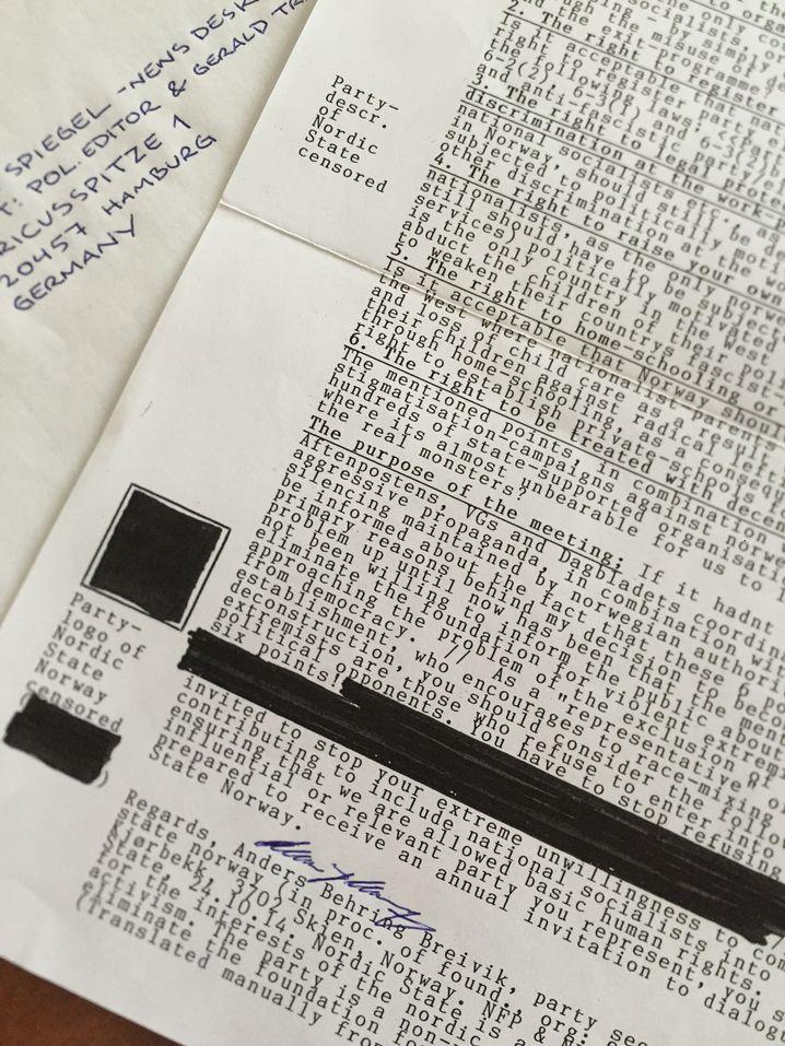 Brief von Breivik