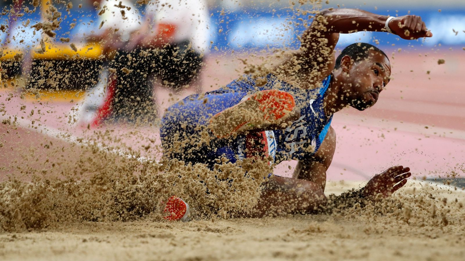 (190930) -- DOHA, Sept. 30, 2019 -- Christian Taylor of the United States competes during the men s triple jump final at