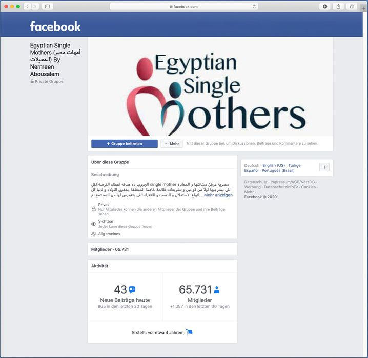 """Die Facebook-Gruppe """"Egyptian Single Mothers"""""""
