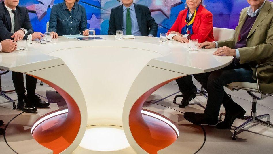 """ZDF-Sendung """"maybrit illner"""", 21.03.2019, Dirk SchÃ?mer, Heiko Maas, Maybrit Illner, Greg Hands, Sabine Thillaye, Ulrich Wickert"""