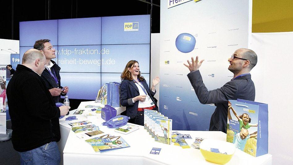 Fraktionsstand beim Parteitag 2013 Für 250 Euro pro Quadratmeter angemietet
