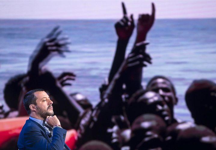 Matteo Salvini in einer TV-Show des Fernsehsenders RAI