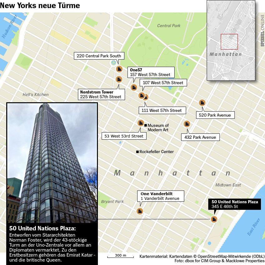 Grafik Karte - New Yorks neue Türme - 50 United Nations Plaza