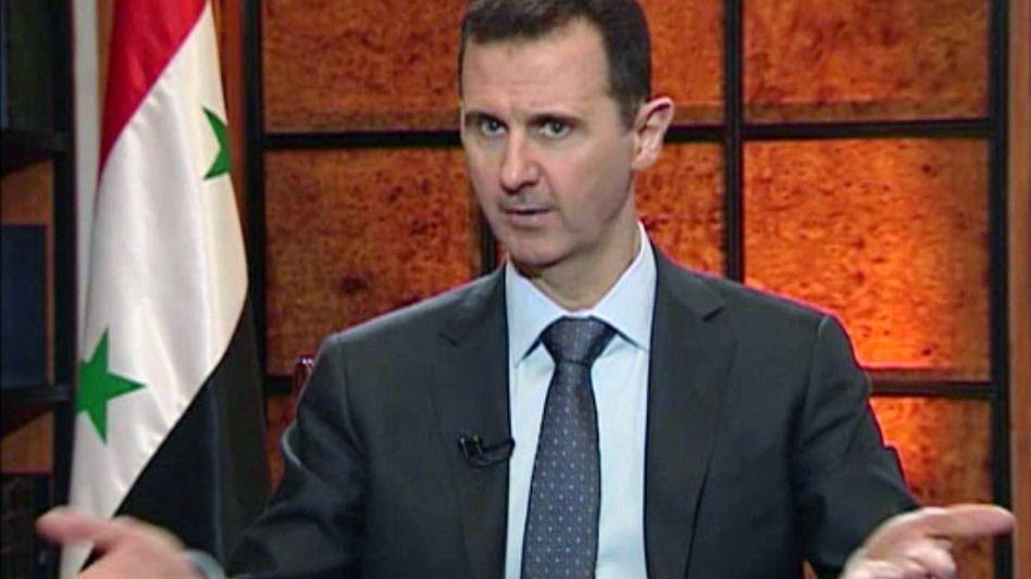 """Assad im TV-Interview (Videoausschnitt): """"Das Feuer wird nicht an unseren Grenzen Halt machen"""""""