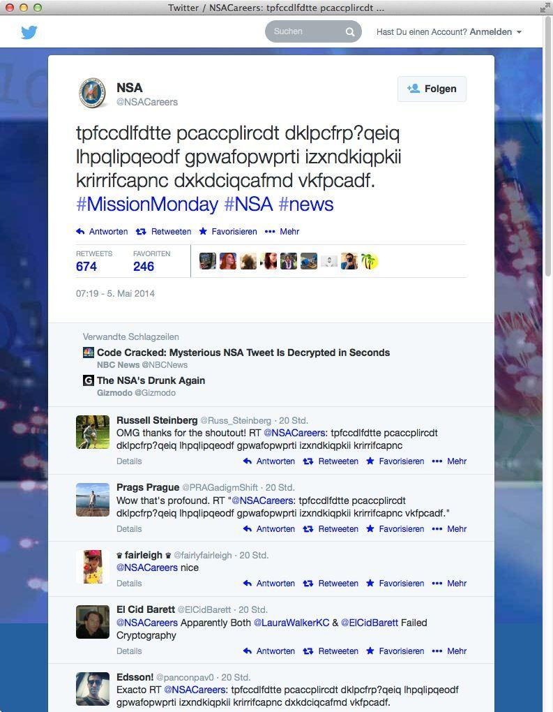 NUR ALS ZITAT Screenshot NSA Twitter verschlsselte Nachricht